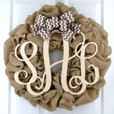 Brown Ivory Monogram Door Wreath with Chevron Bow