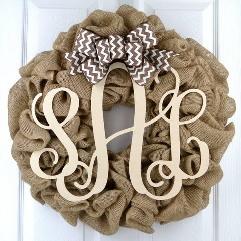 Ivory Burlap Monogram Door Wreath with Brown Chevron Bow