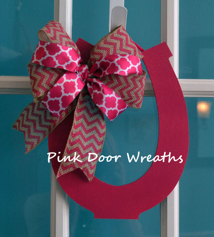 Kentucky Derby Party Horseshoe Door Hanger; LOTS of colors!!
