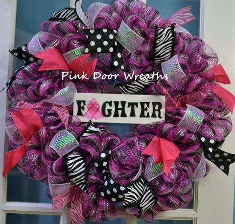Made to Order - Wreath BREAST CANCER SURVIVOR Awareness Fighter black pink white mesh ribbons