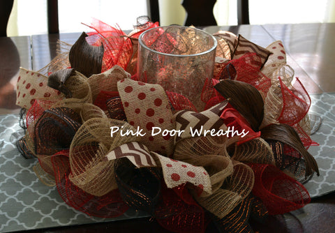 Year Round Living Room Table Centerpiece Candle Holder | Red Burlap Jute Chocolate Brown