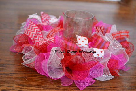 Valentines Mesh Table Centerpiece | Red Pink White