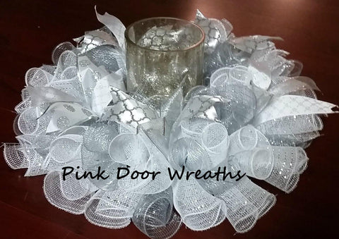 White and Silver Wedding Table Centerpiece (custom available)