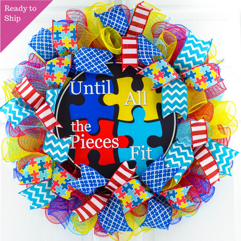 Autism Awareness Door Wreath - Until All the Pieces Fit Puzzle Piece Door Decor