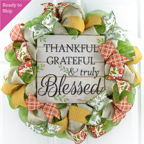 Thankful Grateful Wreath - Blessed Thanksgiving Deco Mesh Front Door Wreath