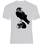 Raven on Skull Sport Grey T-Shirt
