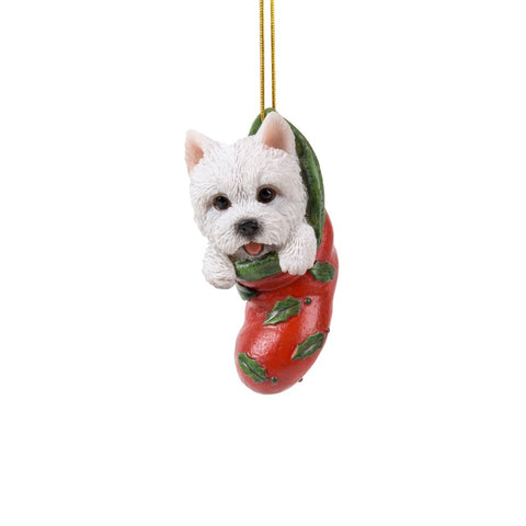 Westie Christmas Stocking Hanging Ornament