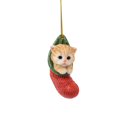 Kitten Christmas Stocking Hanging Ornament