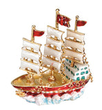 3 Mast White Sails Jeweled Box