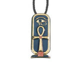 "Ankh Cartouche Pendant Brooch with 26"" Cord"