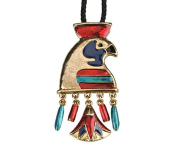 "Horus with Lotus Pendant Brooch with 26"" Cord"