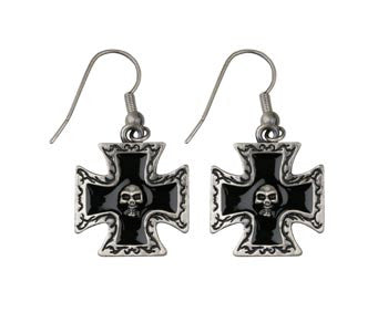 Skull with Black Cross Earrings