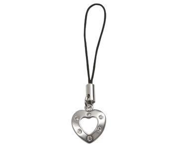 Heart with Crystals Mobile Strap
