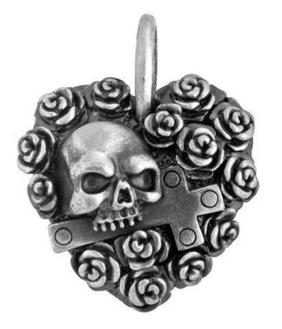 Rose Heart Skull Pendant