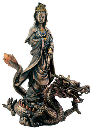 Bronze Finish Kuan Yin with Dragon