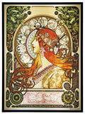 Mucha Zodiac Art Glass