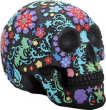Colored Floral Skull - Black