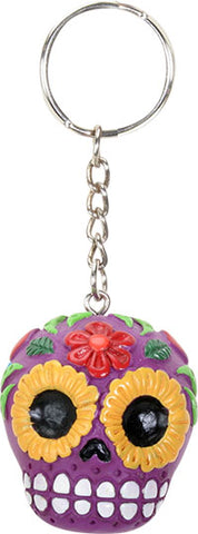 Purple Sugar Skull Key Chain