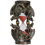 Gothic Fantasy Double Twin Dragons Sandtimer Red Sand Hourglass Sculptural Decor 7.4 inches Tall