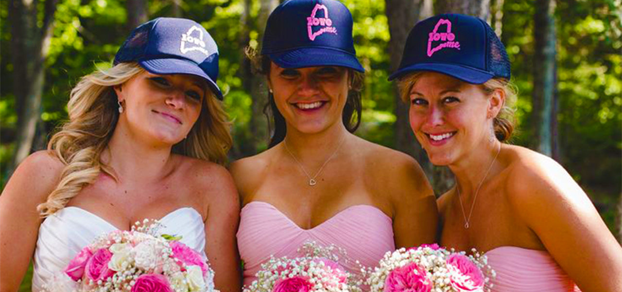 Maine Wedding LoveME Hats Bridesmaids