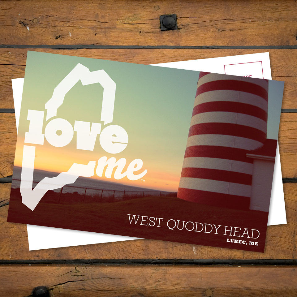 Love Maine Postcard West Quoddy Head Lighthouse Lubec Front