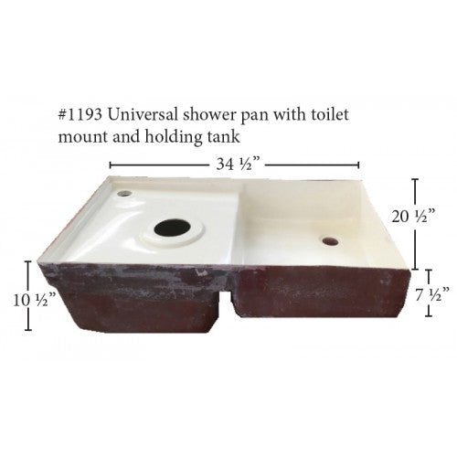 Fiberglass RV Toilet Mount/\Holding Tank/ Shower Pan Combo (1193)