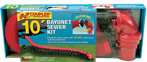 BAYONET SEWER KIT 10FT Includes EZ Coupler 90° bayonet sewer fitting and a 10′ hose