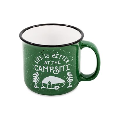 Life is B etter at the Campsite Speckled Mug, Green, 14 oz. (53355)
