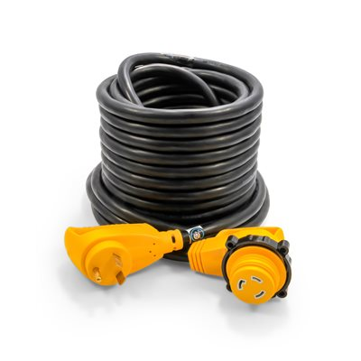 30Amp Power Grip 50' Extension Cord - 90M / 90F-Locking Adapter (55525) - The RV Parts House
