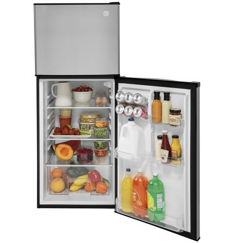 GPV10FSNSB - GE 9.8 Cu. Ft. 12 Volt DC Power Top-Freezer Refrigerator - Stainless direct replacement for the DM2852 but 12 volt only - The RV Parts House