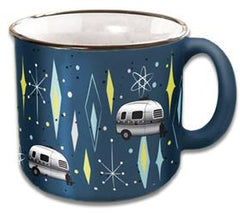 Mug; Travel Mug; 15 Ounce Capacity; Vintage Blues; Dishwasher And Microwave Safe (CC-004VB)