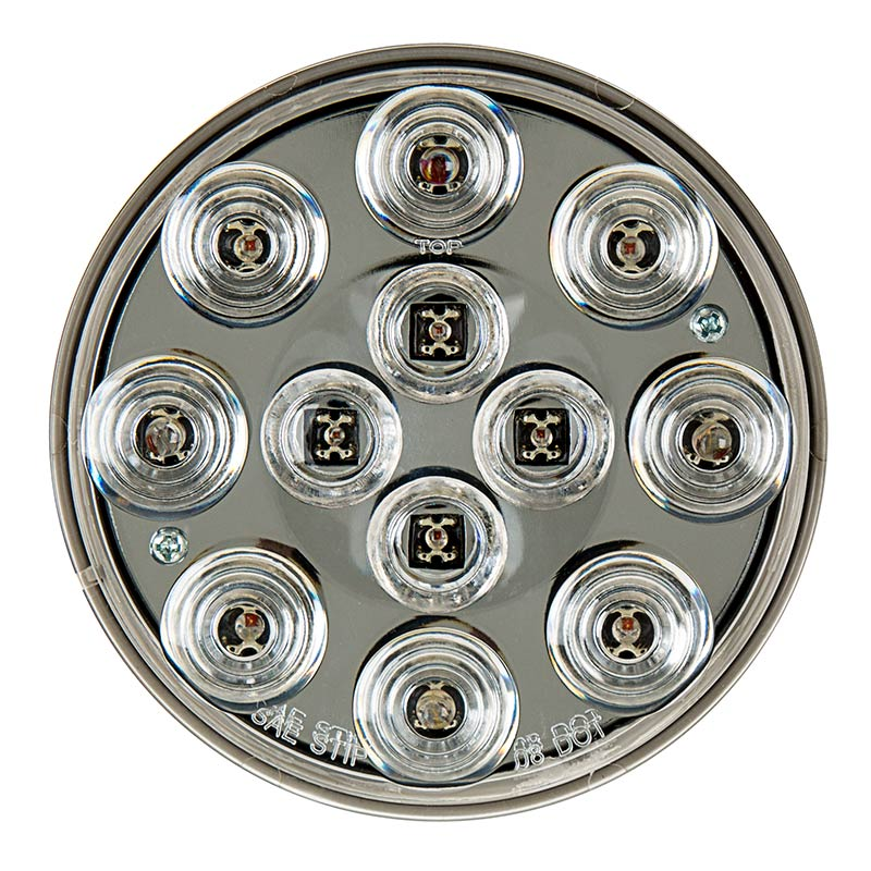 "Round LED Truck and Trailer Lights w/ Clear Lens - 4"" LED Brake/Turn/Tail Lights - 3-Pin Connector - Flush Mount - 12 LEDs (ST-W12) - The RV Parts House"
