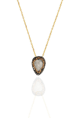 Gold Rock Crystal Cluster Necklace