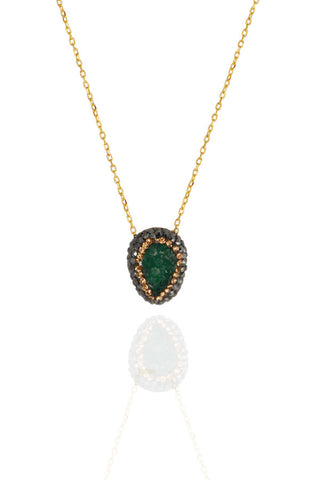 Gold Emerald Cluster Necklace