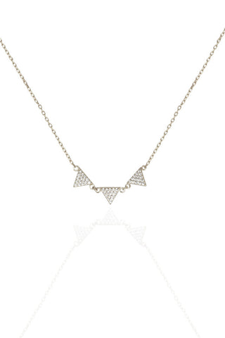 Silver Triangle Triplet Necklace