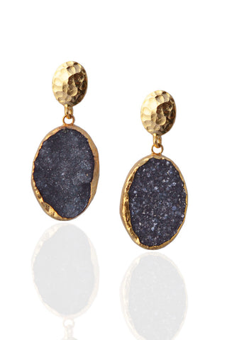 Hammered Druzy Earrings