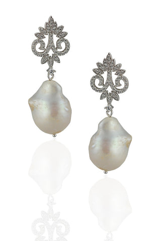 Freshwater Pearl Crown Earrings
