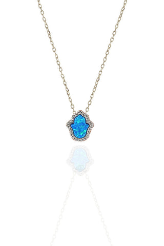 Opal Hand of Fatima Necklace