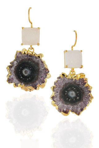 Stalactite Earrings with White Druzy