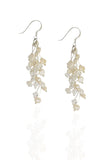 White Pearl Feather Earrings