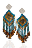 Blue & Gold Fringe Earrings
