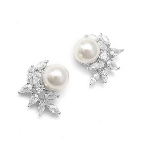 Crescent Bridal Earrings with Pearl