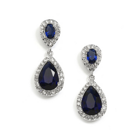 Sapphire Cubic Zirconia Teardrop Wedding or Bridesmaids Earrings