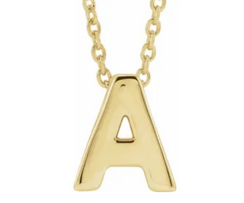 14K Gold Initial Slide Necklace