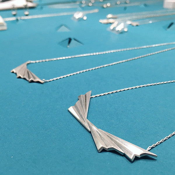Pleated Necklaces in Silver