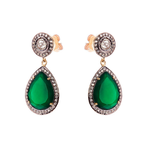 Green Onyx and White Sapphire Earrings