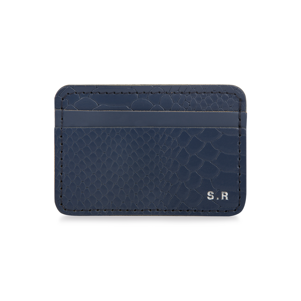 LEATHER PERSONALISED CARD HOLDER NAVY CROC