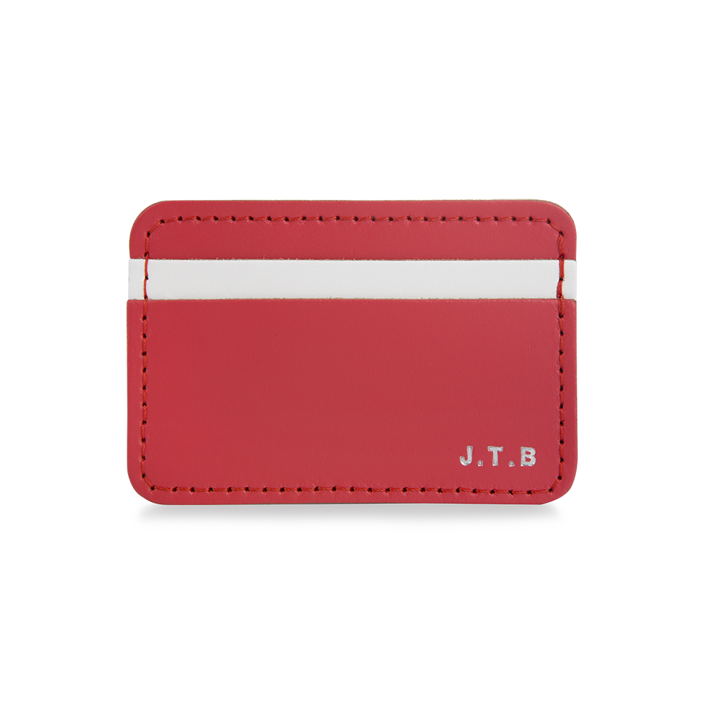 LEATHER PERSONALISED CARD HOLDER POPPY RED & WHITE