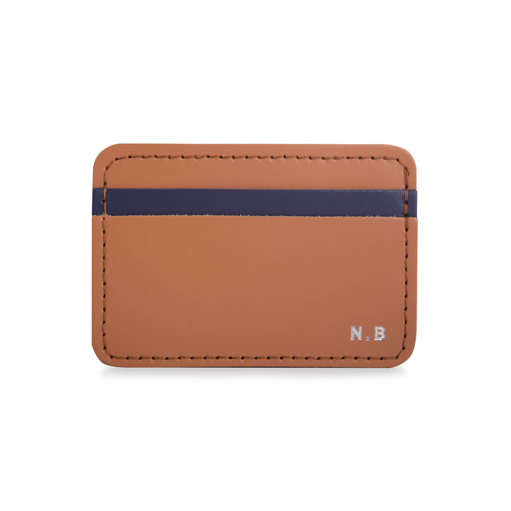 LEATHER PERSONALISED CARD HOLDER TAN & NAVY