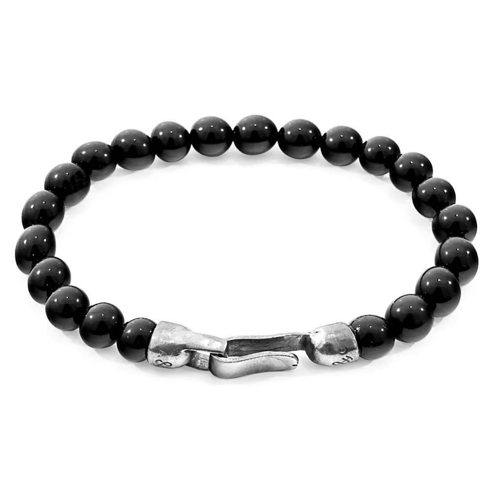 BLACK ONYX OUTRIGGER SILVER AND STONE BRACELET